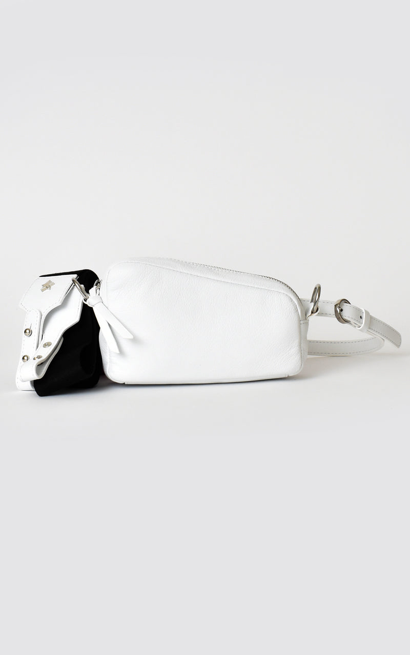 White H-ology Leather Belt Bag with Removable Shoulder Strap Front