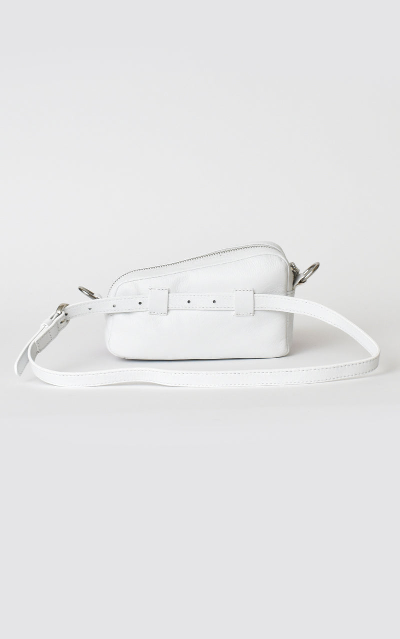 White H-ology Leather Belt Bag with Removable Shoulder Strap Back