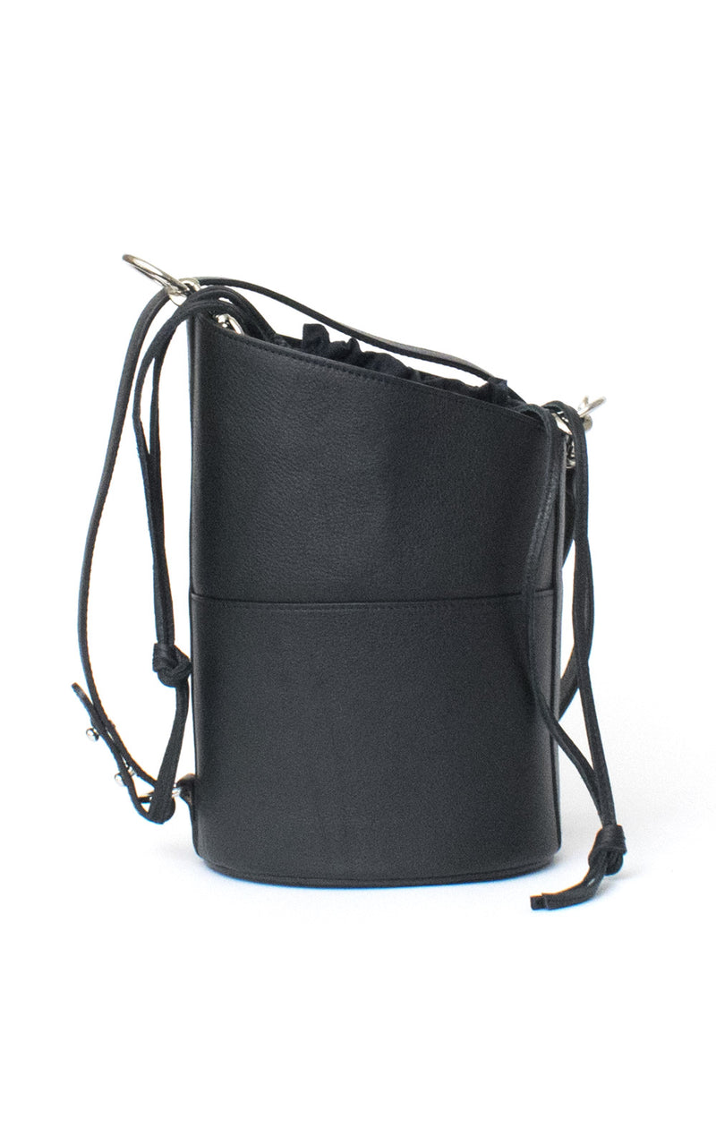 Black H-ology Leather Bucket Bag with Removable Shoulder Strap Front