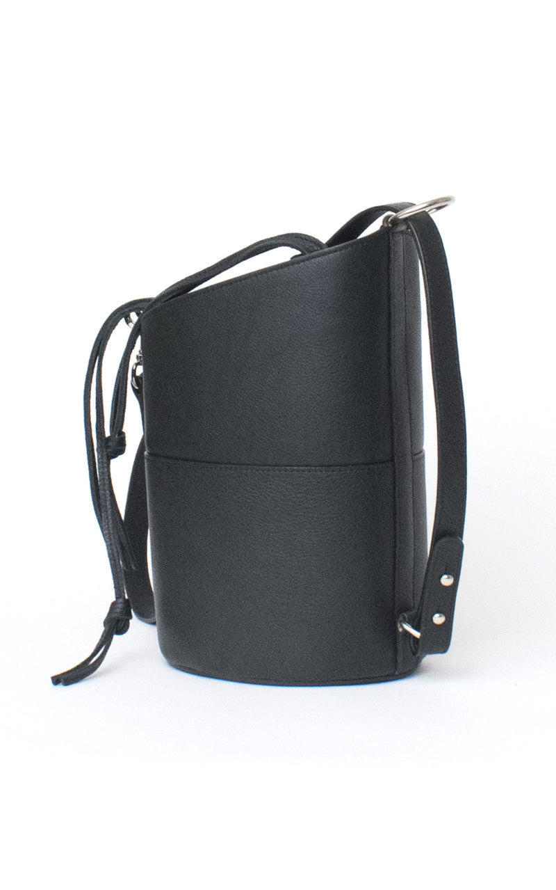 Black H-ology Leather Bucket Bag with Removable Shoulder Strap