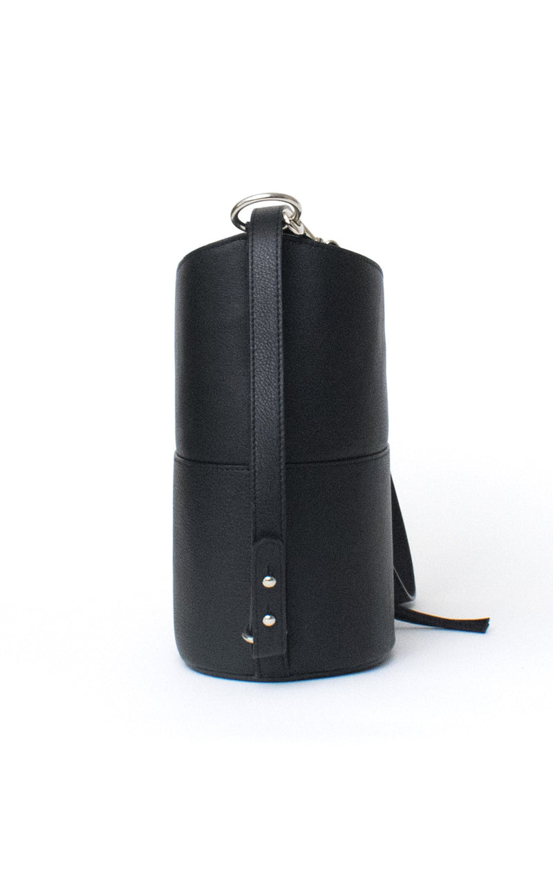 Black H-ology Leather Bucket Bag with Removable Shoulder Strap Side