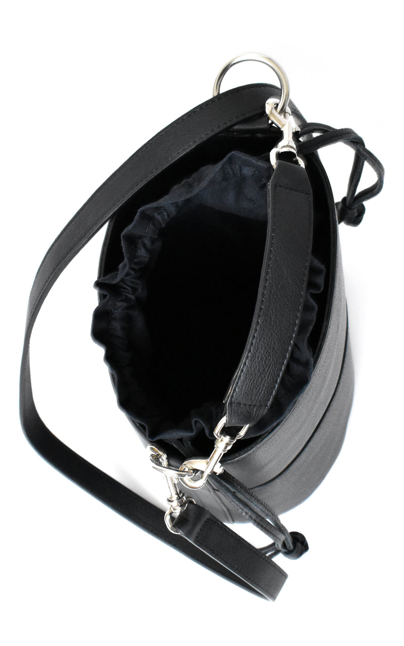 Black H-ology Leather Bucket Bag with Removable Shoulder Strap Inside