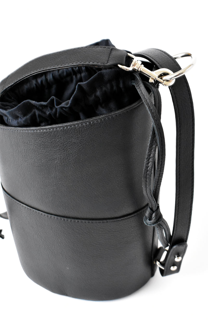 Black H-ology Leather Bucket Bag with Removable Shoulder Strap Top