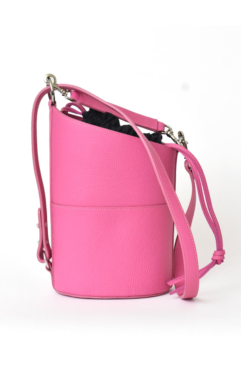 Fuchsia Pink H-ology Leather Bucket Bag with Removable Shoulder Strap Front