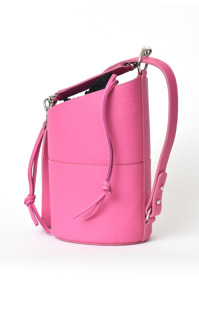 Fuchsia Pink H-ology Leather Bucket Bag with Removable Shoulder Strap