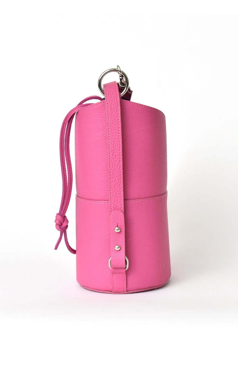Fuchsia Pink H-ology Leather Bucket Bag with Removable Shoulder Strap Side