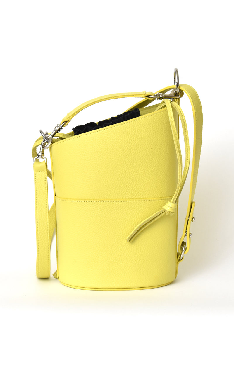 Lemon Yellow H-ology Leather Bucket Bag with Removable Shoulder Strap Front