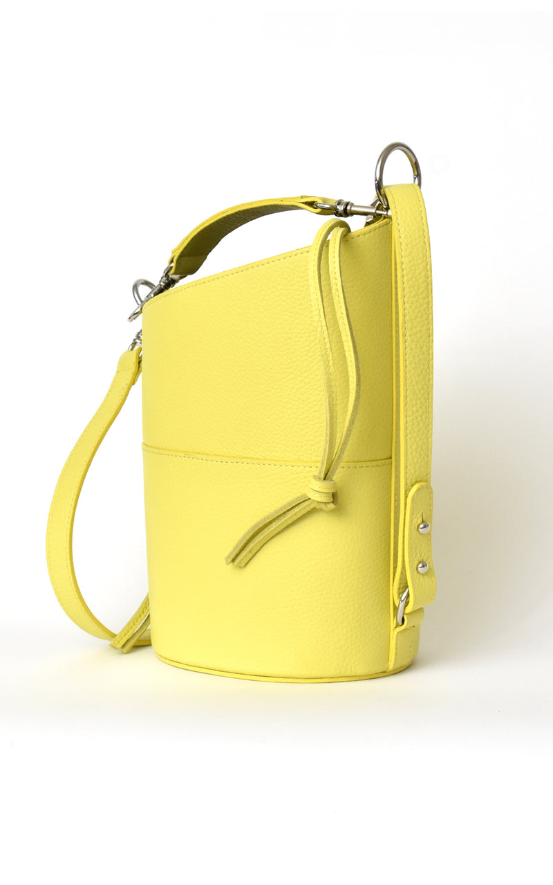 Lemon Yellow H-ology Leather Bucket Bag with Removable Shoulder Strap