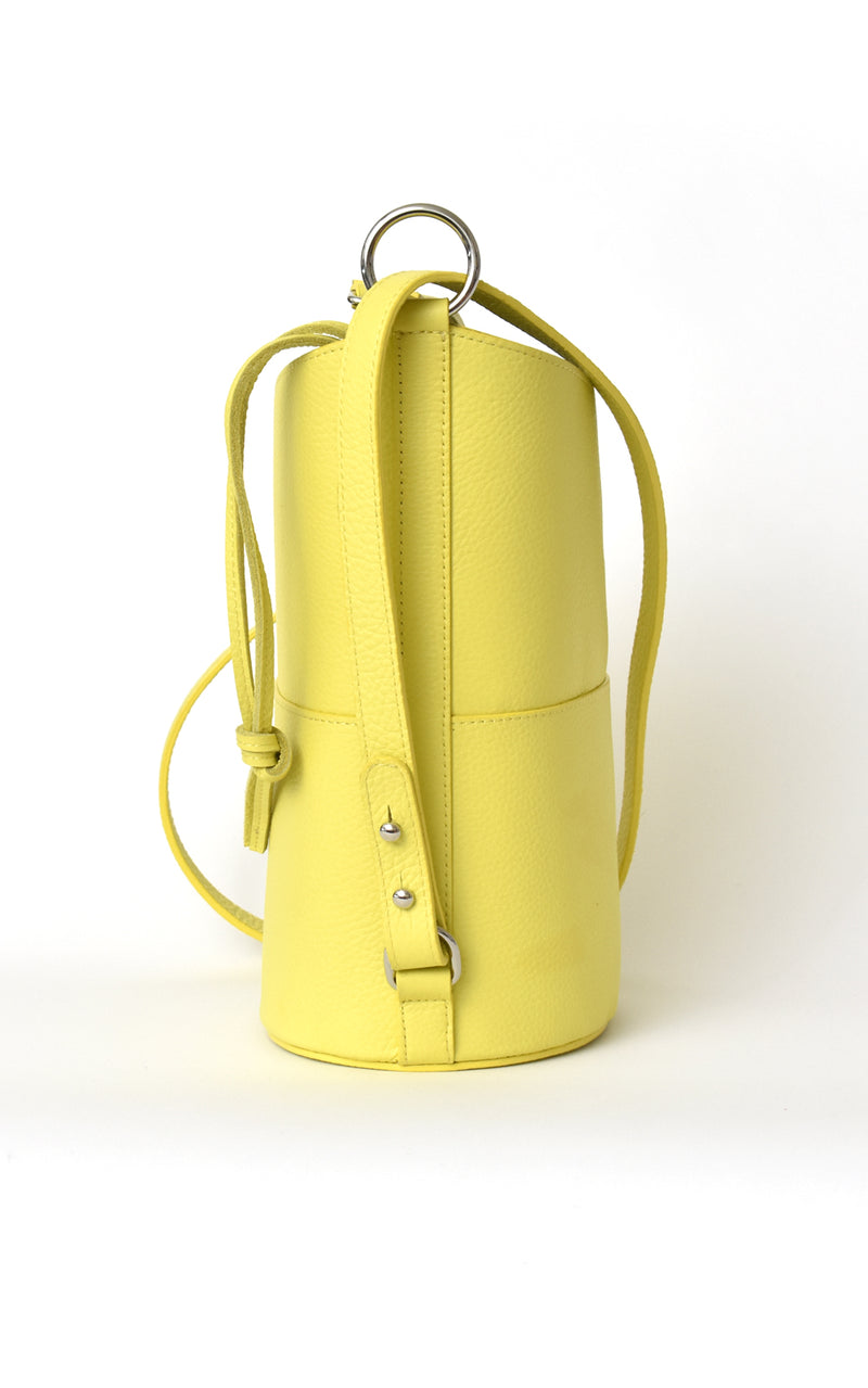 Lemon Yellow H-ology Leather Bucket Bag with Removable Shoulder Strap Side