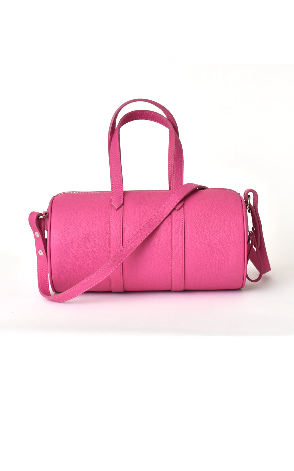 H-ology Leather Mini Duffel Handbag Fuchsia