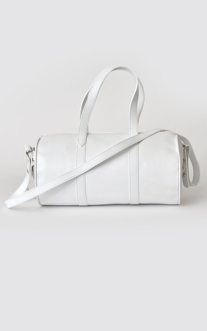 H-ology Leather Mini Duffel Handbag White