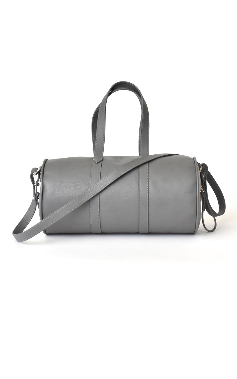 H-ology Leather Mini Duffel Handbag Stone