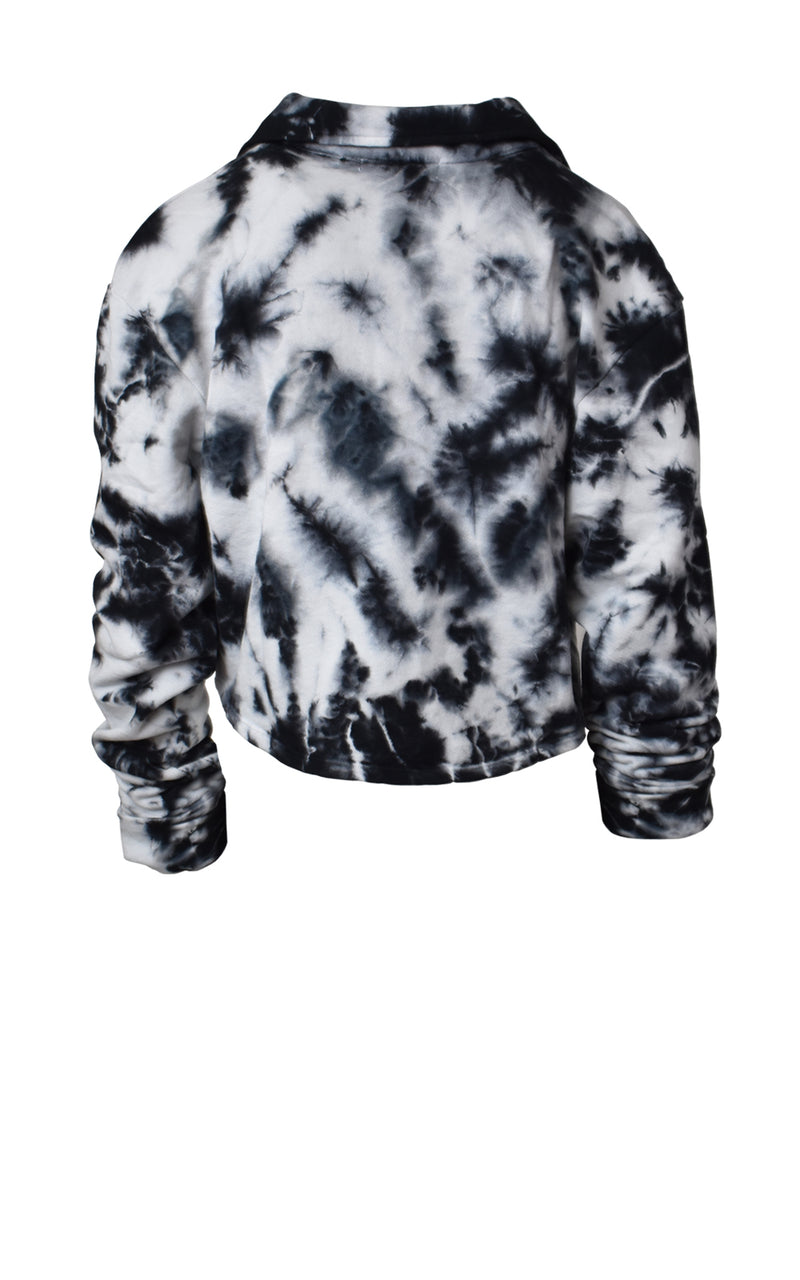 Joah Brown Aspen Half Zip Cropped Tie-Dye Sweatshirt Back Cookies 'n Cream