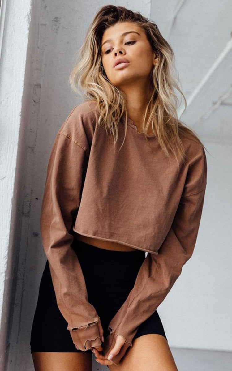Joah Brown Distressed Crop Long Sleeve Whiskey