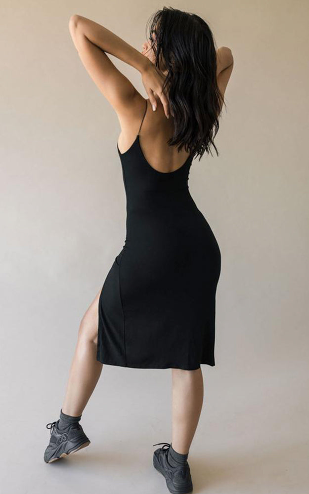 Joah Brown Black Ribbed Spaghetti Strap Low Back High Leg Slit Dress