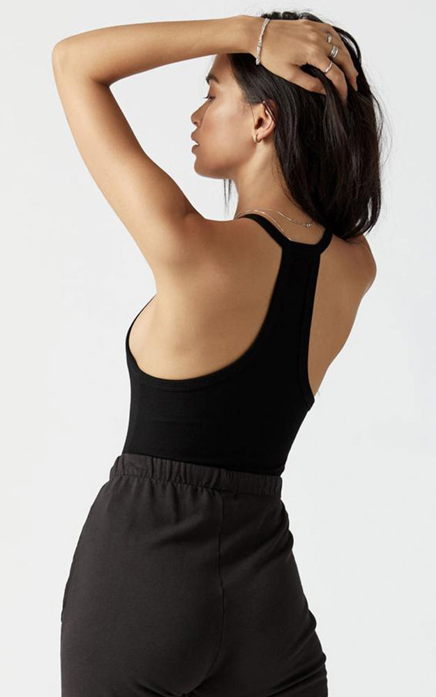 Joah Brown Black Ribbed Deep V-Neck Racerback Tank Top