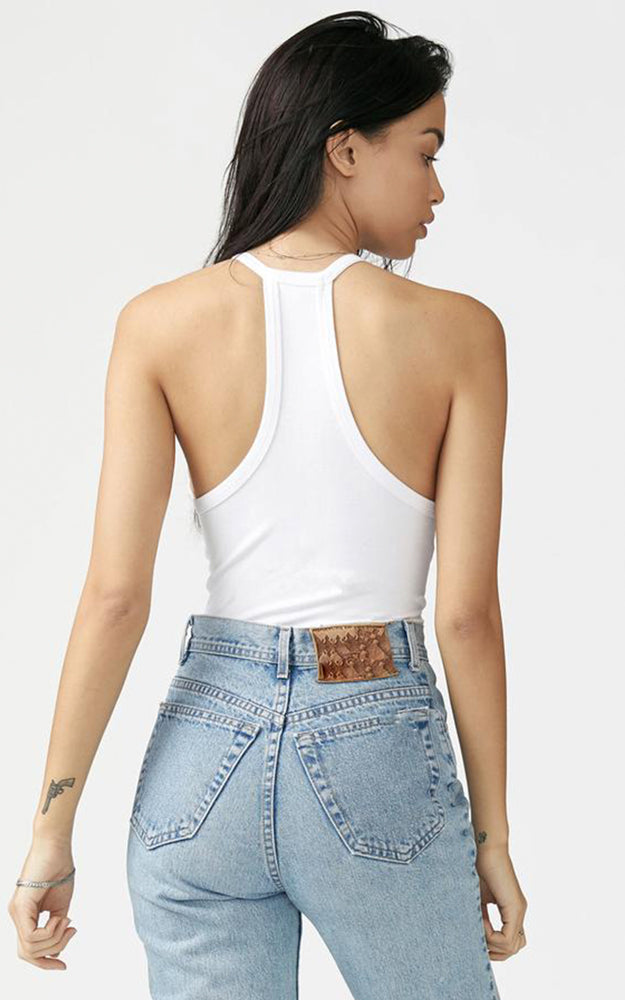 Joah Brown White Ribbed Deep V-Neck Racerback Tank Top