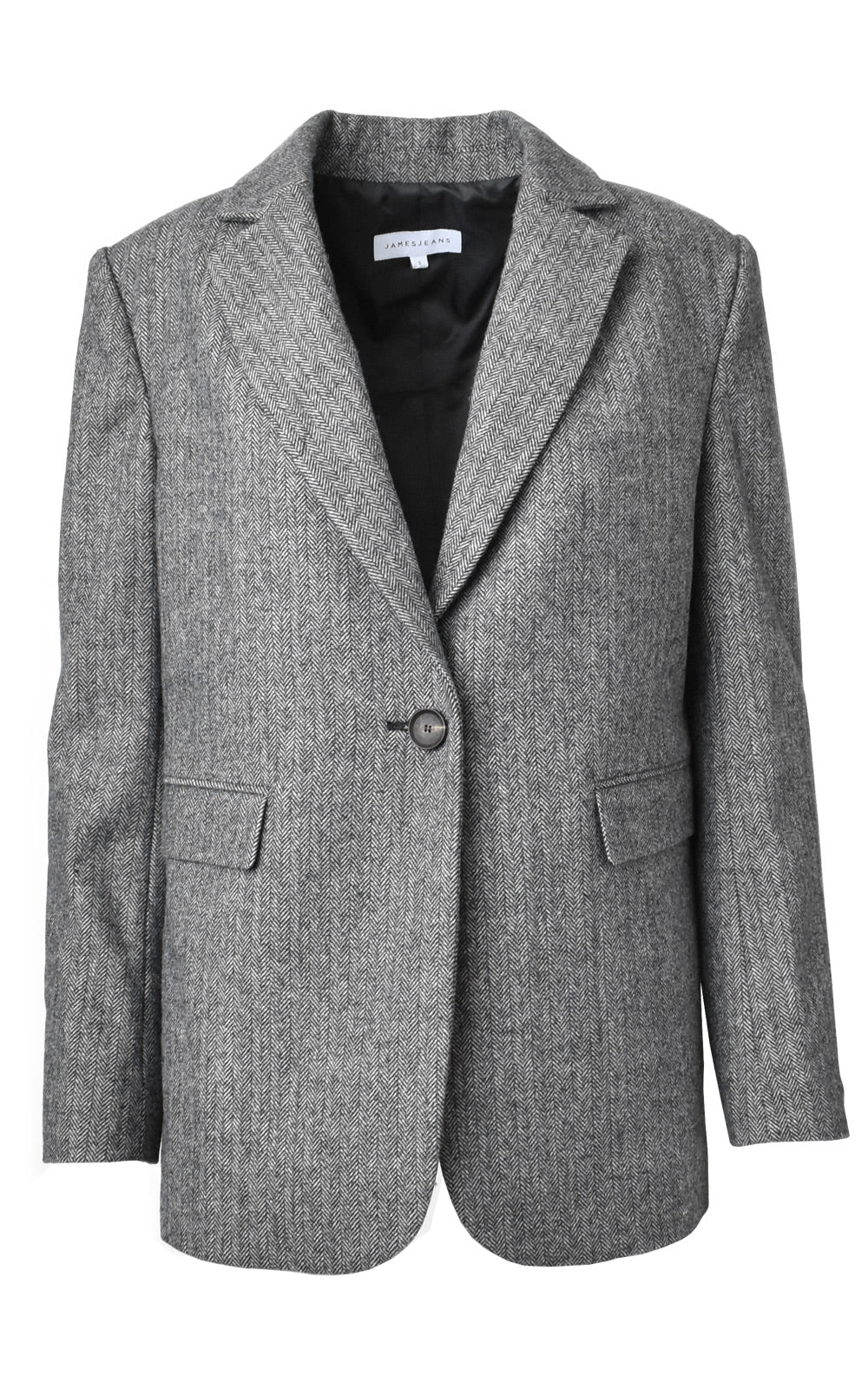 James Jeans Kennedy Herringbone Boyfriend Blazer Grey Herringbone
