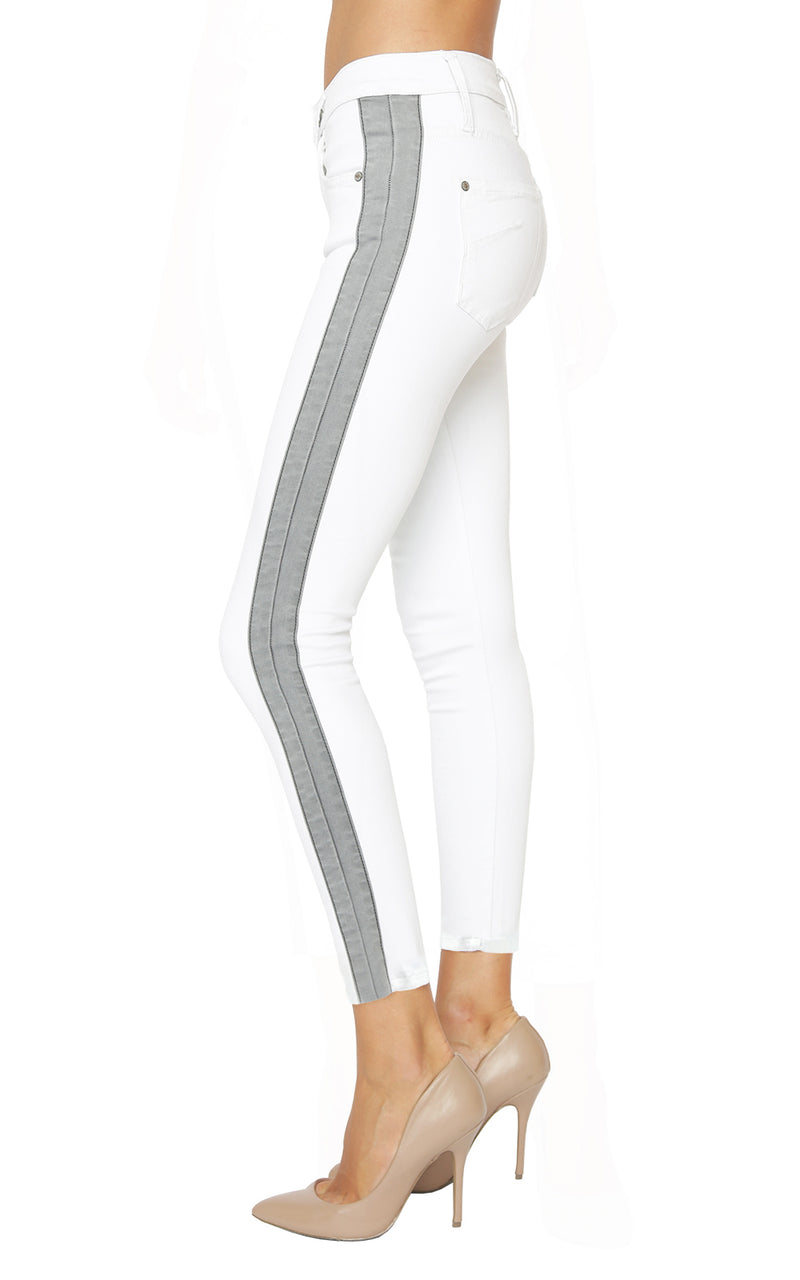 James Jeans White/Grey Twiggy Ankle Tuxedo Stripe Denim Jeans