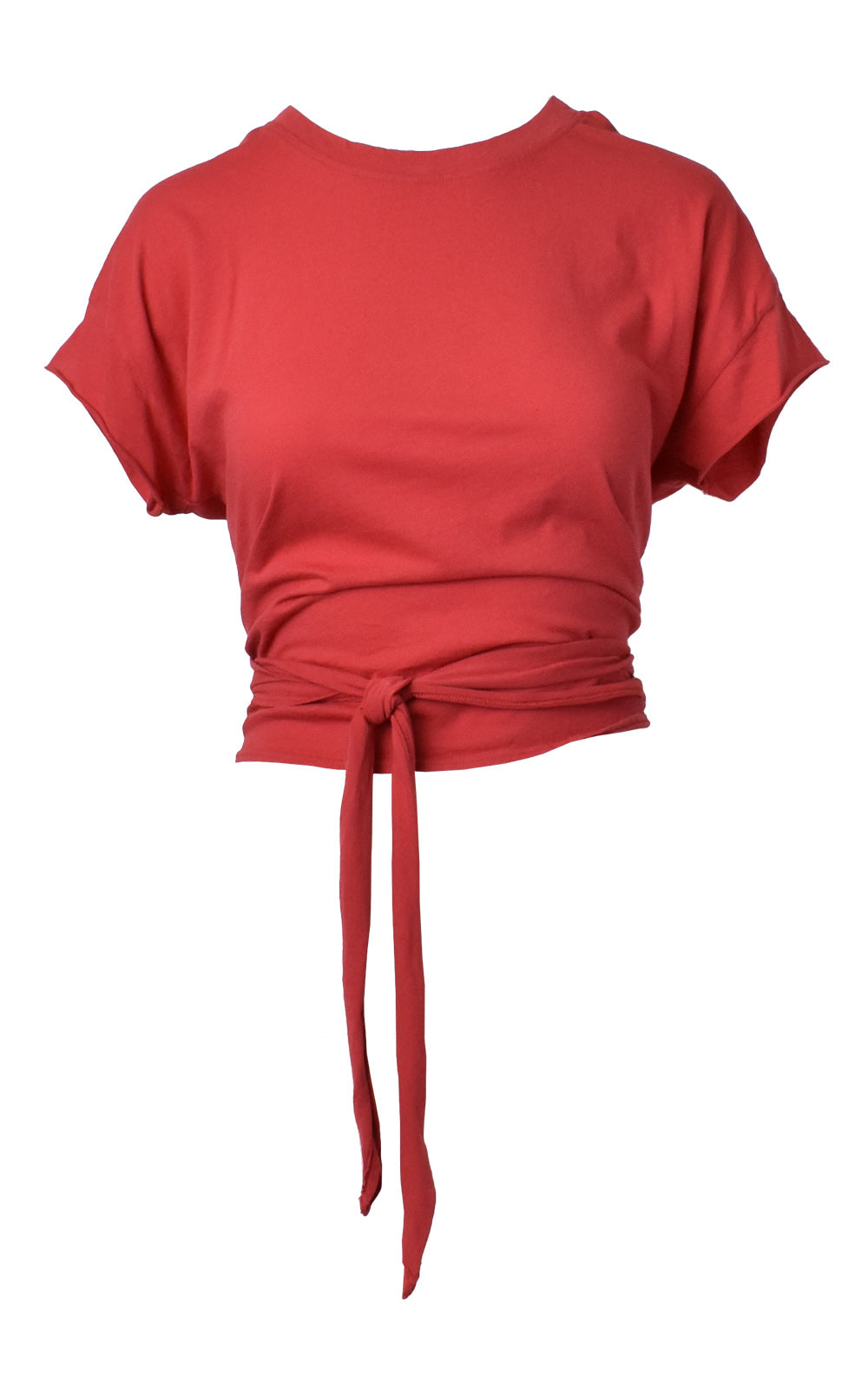 Red LA Made Babe Wrap Tie Crop Top Tee Front