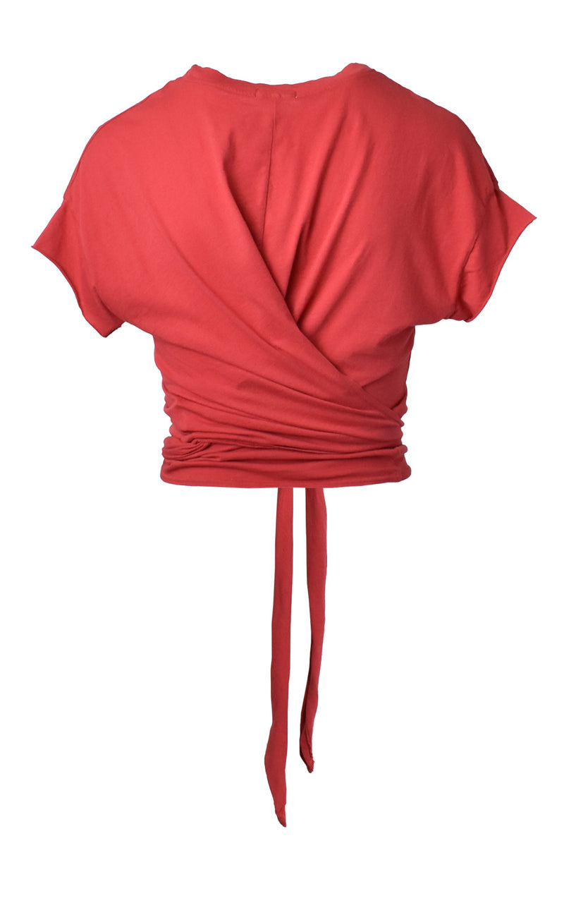 Red LA Made Babe Wrap Tie Crop Top Tee Back