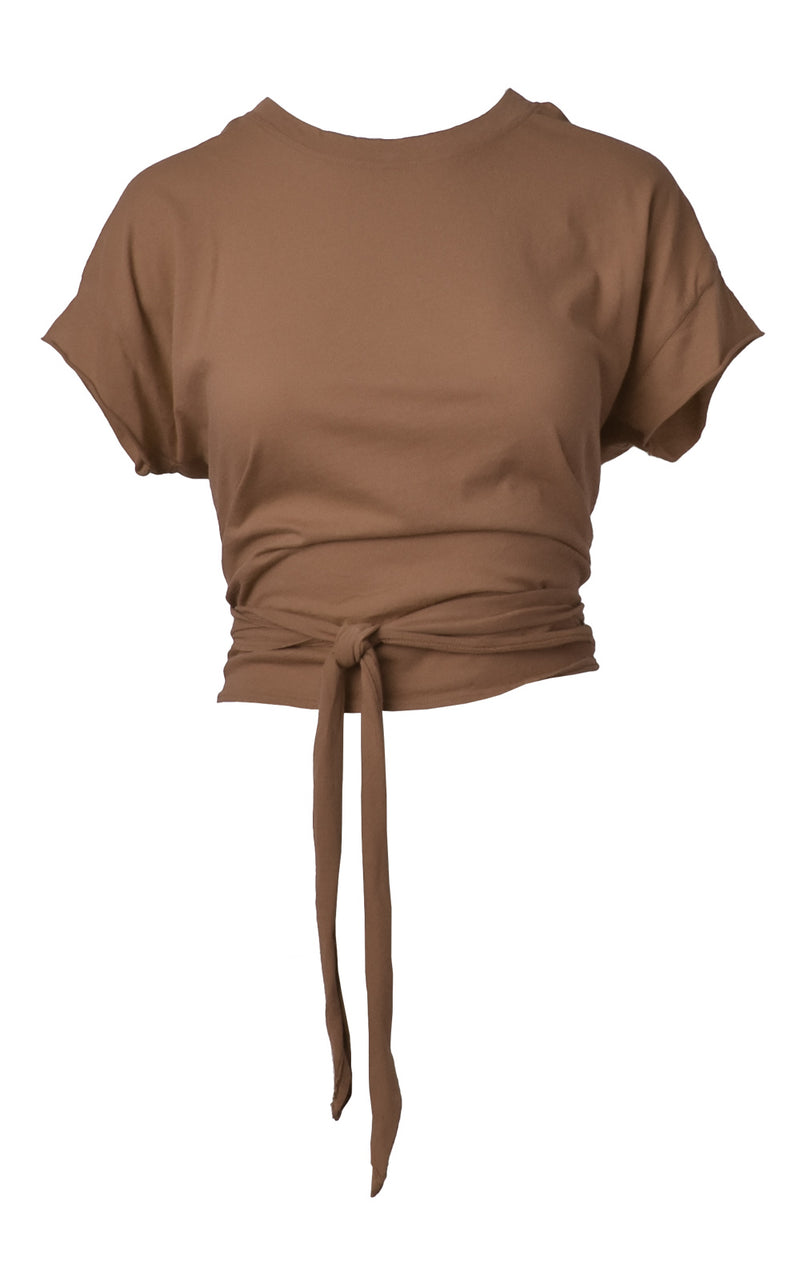 Deep Taupe Brown LA Made Babe Wrap Tie Crop Top Tee Front