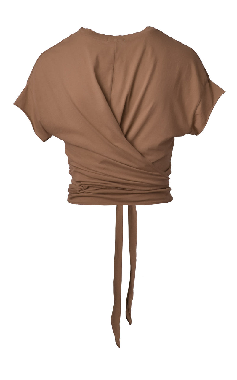 Deep Taupe Brown LA Made Babe Wrap Tie Crop Top Tee Back