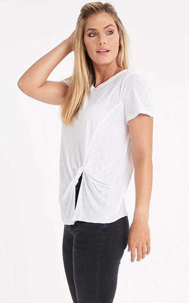 LA Made Eclipse Front Twist Tie T-Shirt White