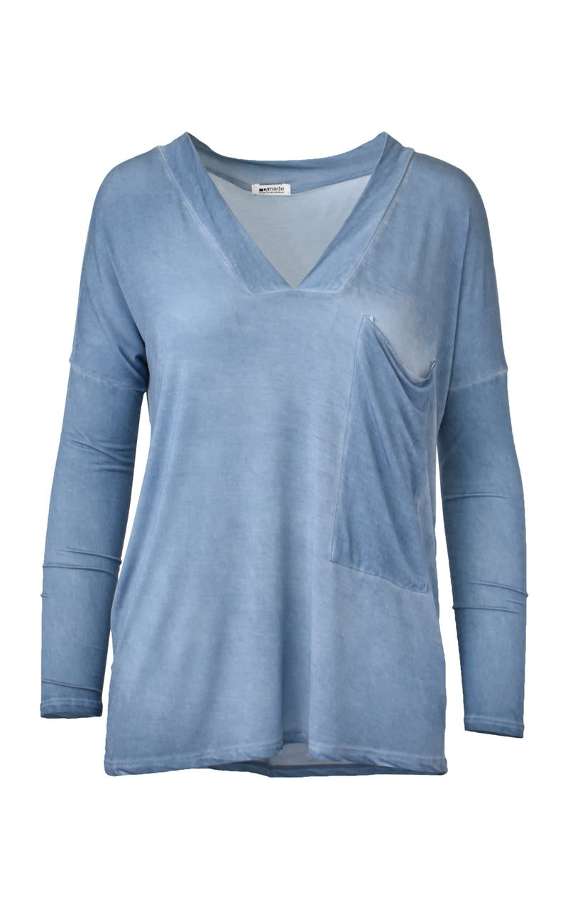 LA Made Oversized Pocket Castor V-Neck Long Sleeve Top Blue Moon