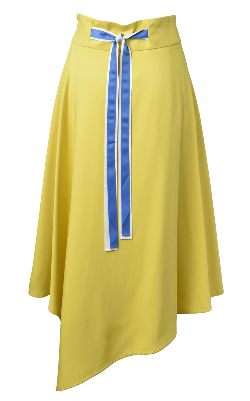 LIE Collection Asymmetrical Back Ribbon Tie Skirt Back Yellow