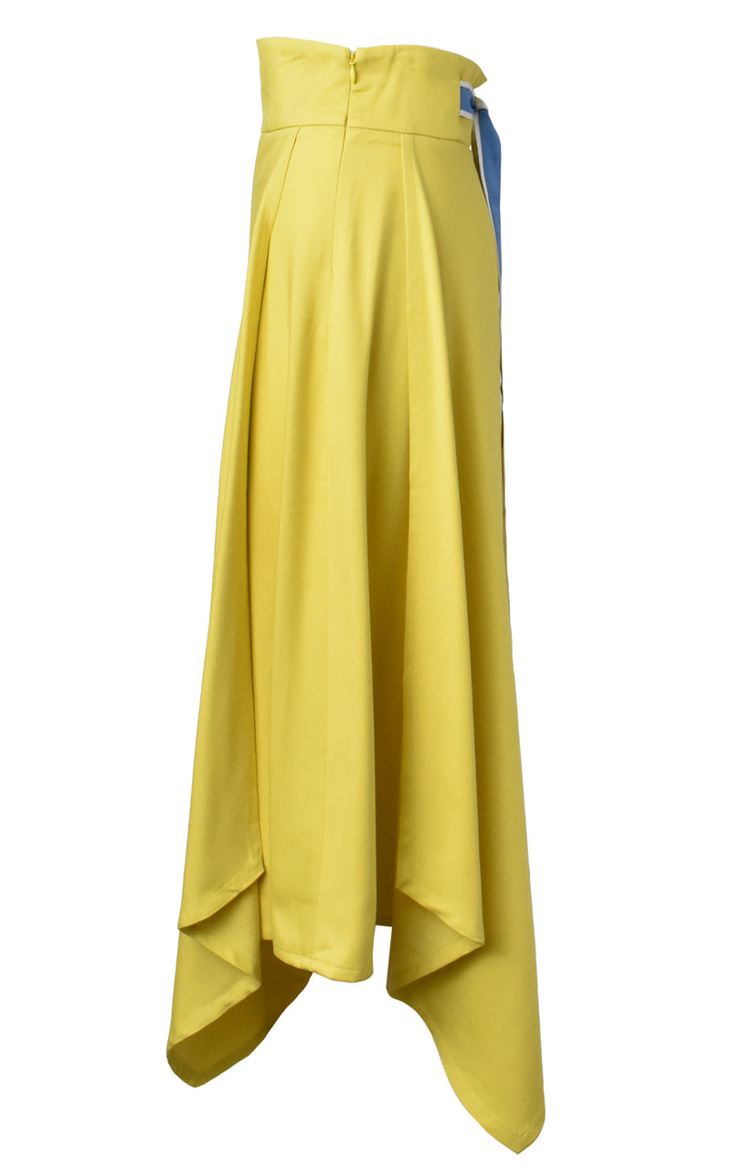 LIE Collection Asymmetrical Back Ribbon Tie Skirt Side Yellow