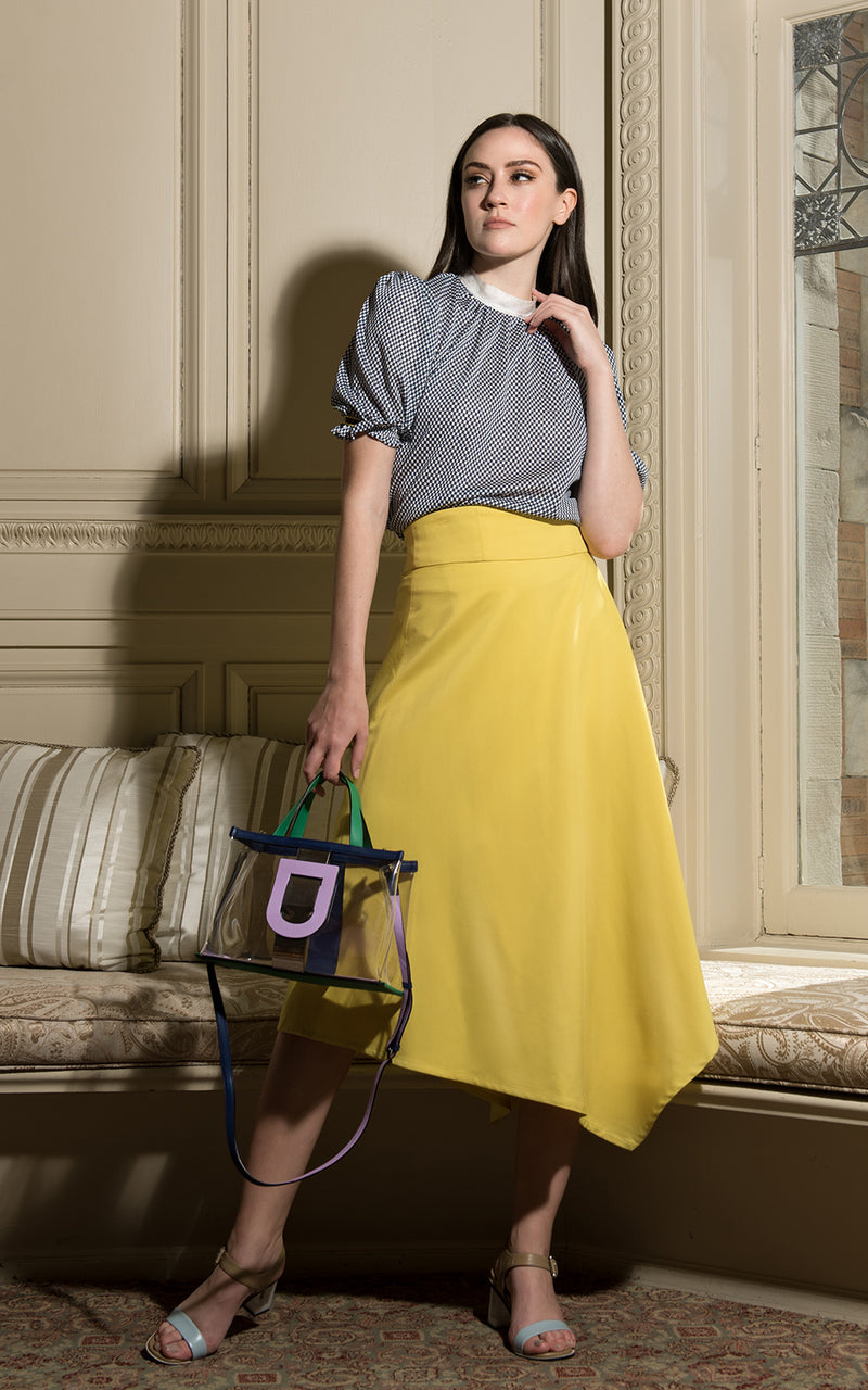 LIE Collection Asymmetrical Back Ribbon Tie Skirt Model Yellow
