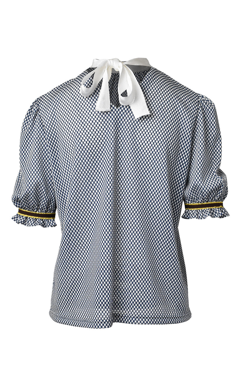 LIE Collection Checkered Ruffle Sleeve Blouse Blue/White Check