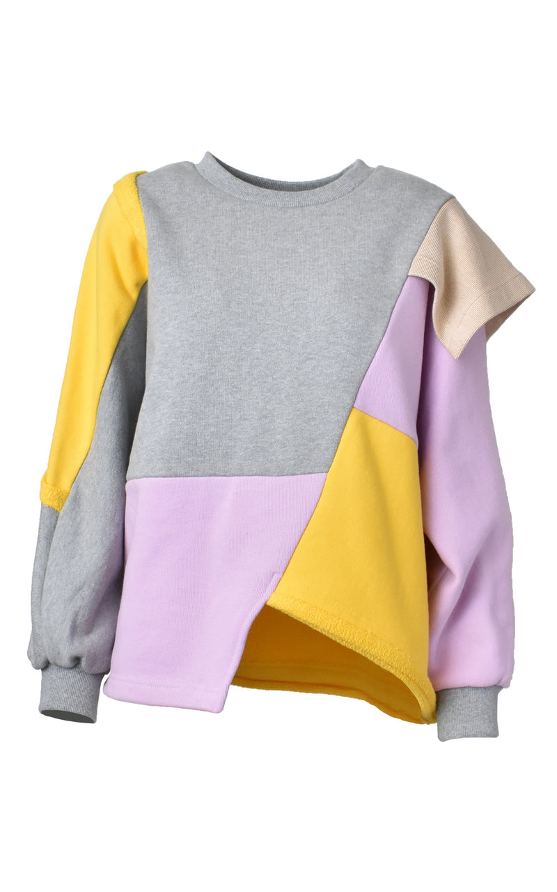 LIE Collection Asymmetrical Colorblock Sweatshirt Front