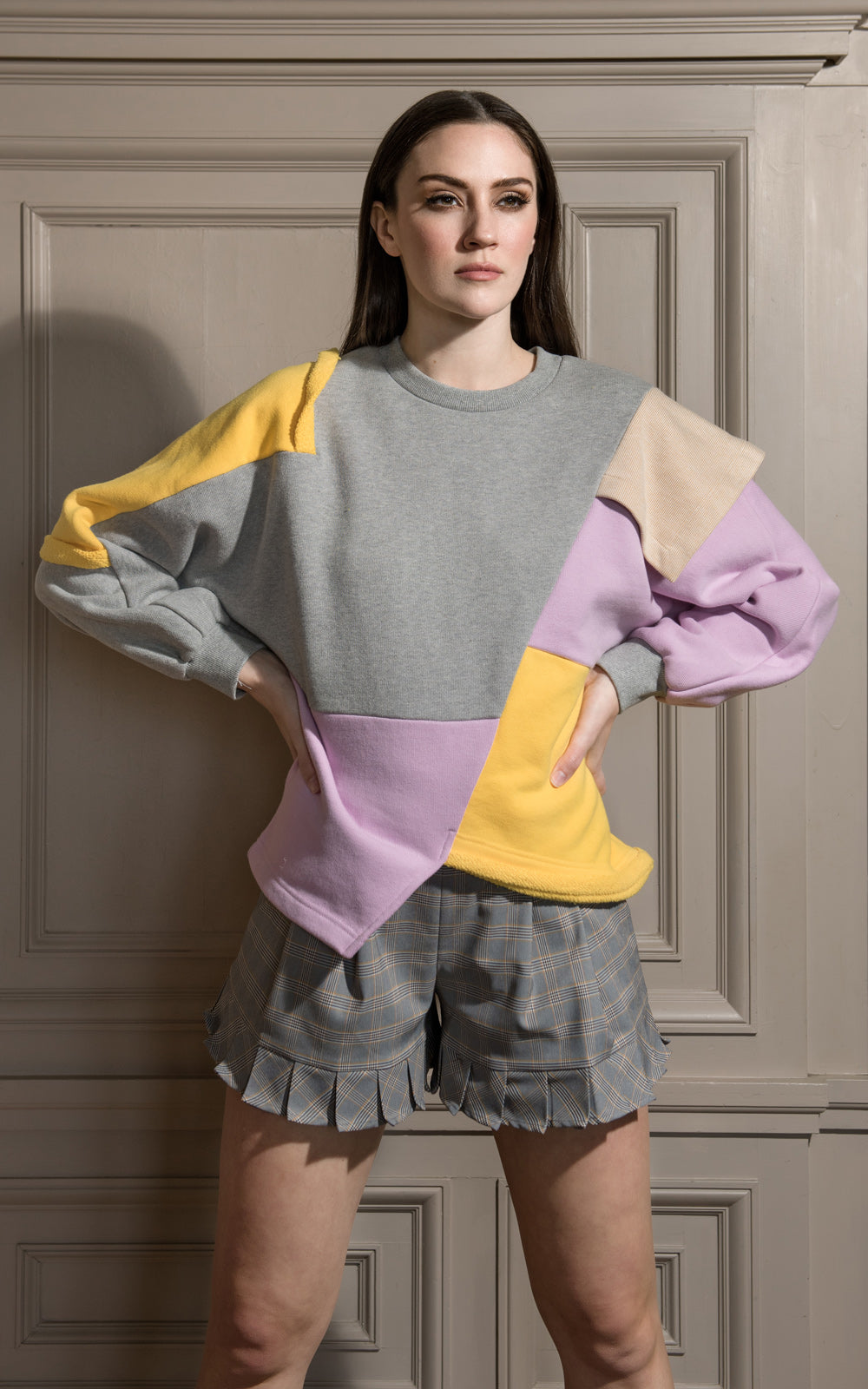 LIE Collection Asymmetrical Colorblock Sweatshirt Model Grey