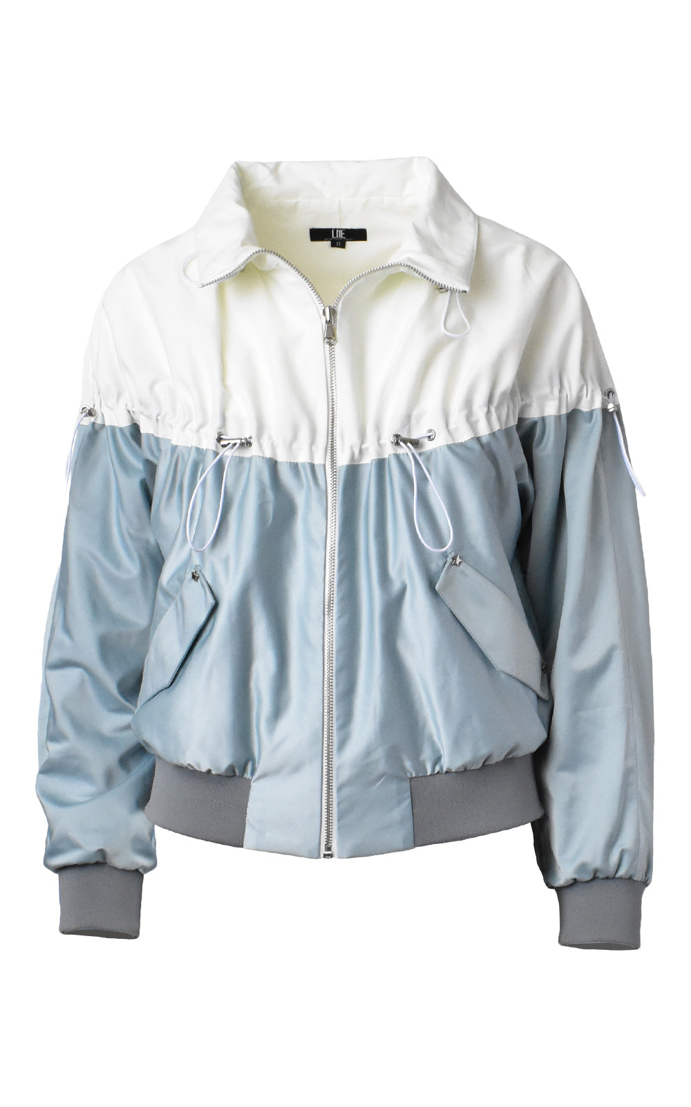 LIE Collection Drawstring Two-Tone Bomber Jacket Silver Blue