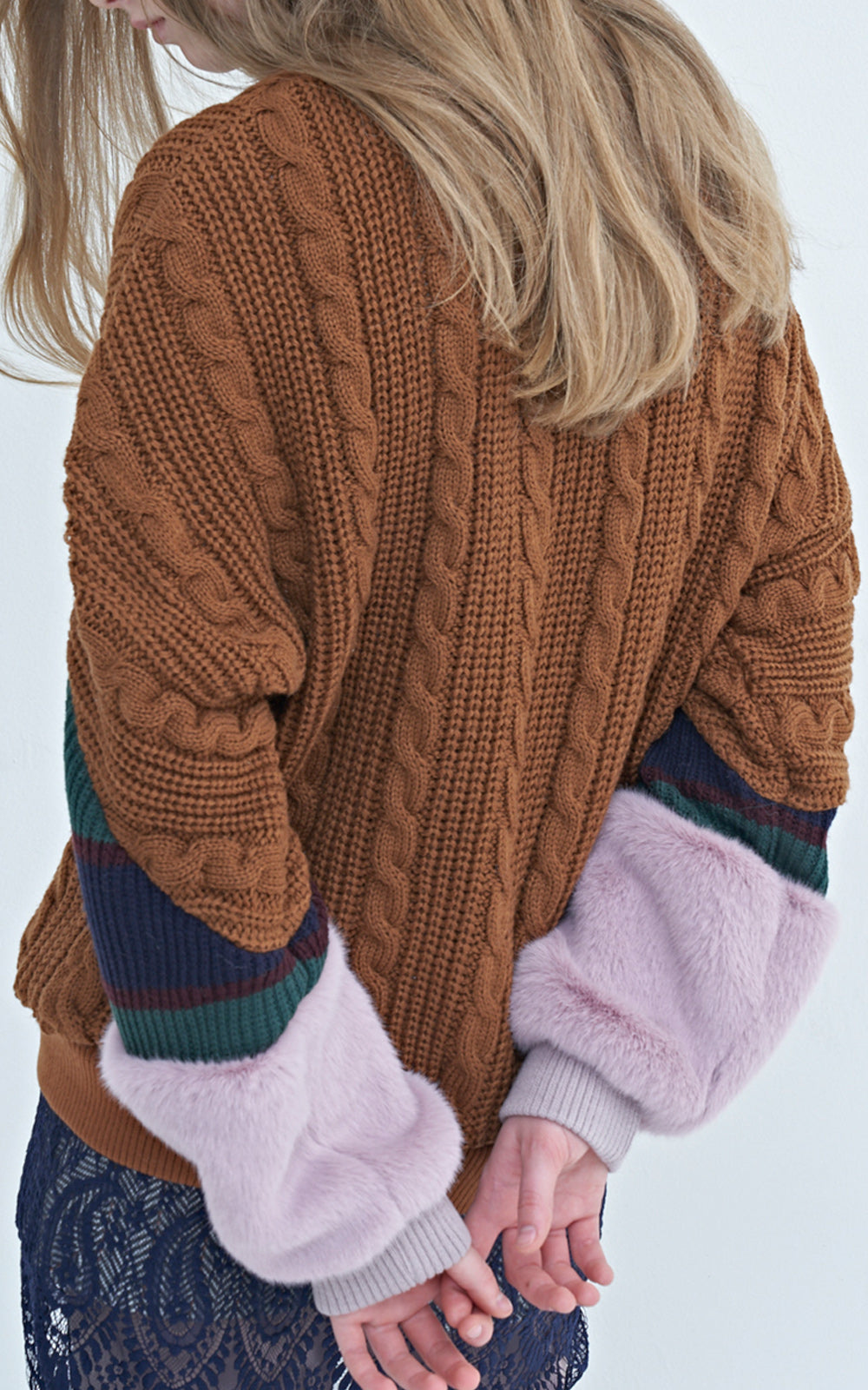 Faux Fur Cable Knit Sweater