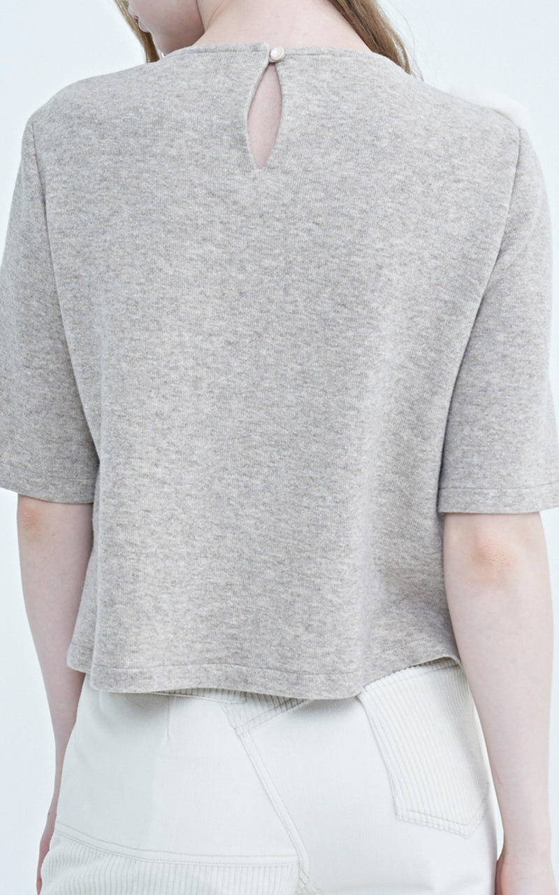 LIE Faux Fur Paneled Short Sleeve Light Grey Wool Sweater