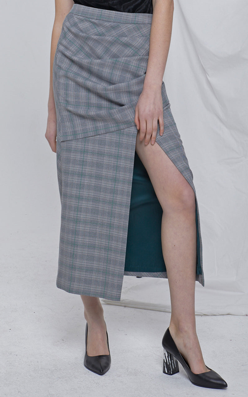 LIE High Waisted Grey Plaid Draped Wrap Side Slit Midi Skirt