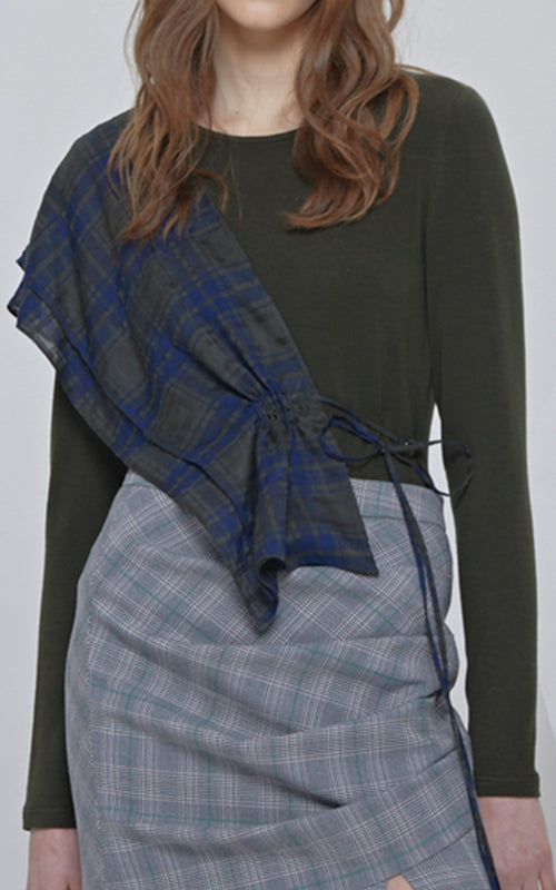 LIE Long Sleeve Knit Green/Blue Plaid Sash Blouse