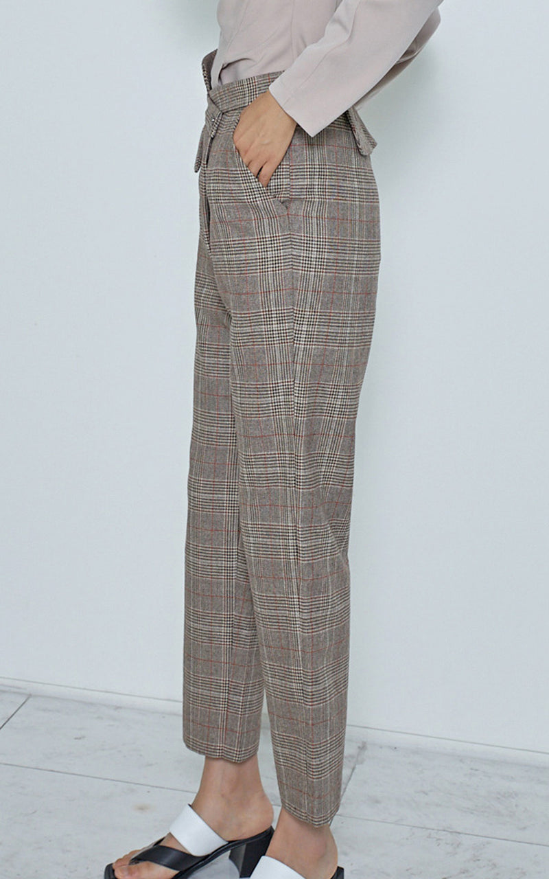 LIE Overlapping Leg Peplum Waist Beige Plaid Cigarette Trouser Pants