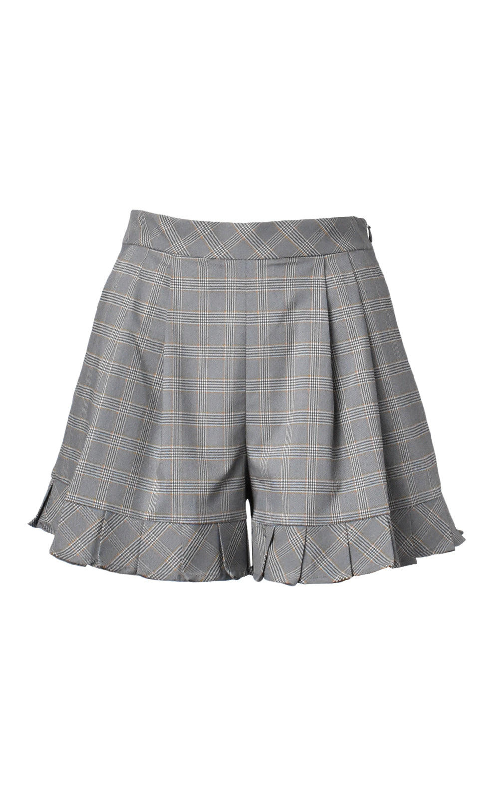 LIE Collection High-Waisted Pleat Plaid Shorts Grey Plaid