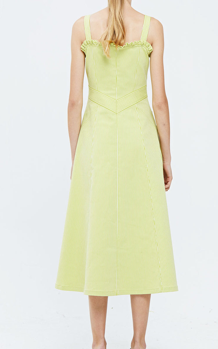 IE Collection Lime Green & White Pinstripe Zipper Flare Dress