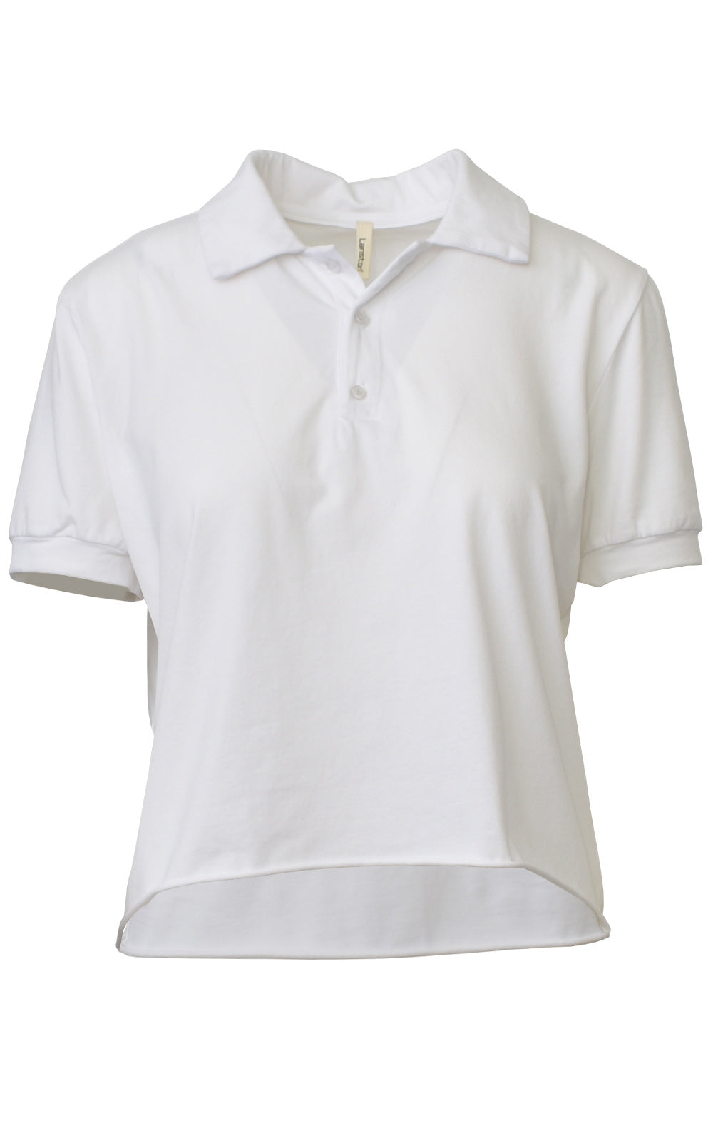 Lanston White Cutoff Crop Top Polo Shirt Front