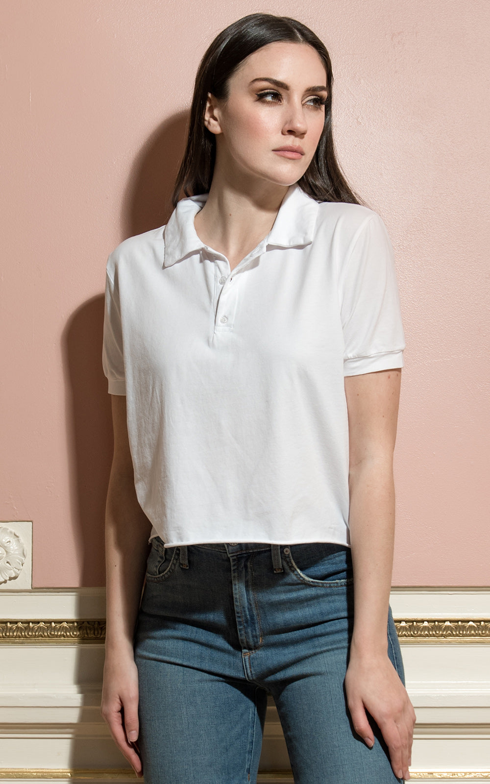 Lanston Crop Top Polo Shirt White
