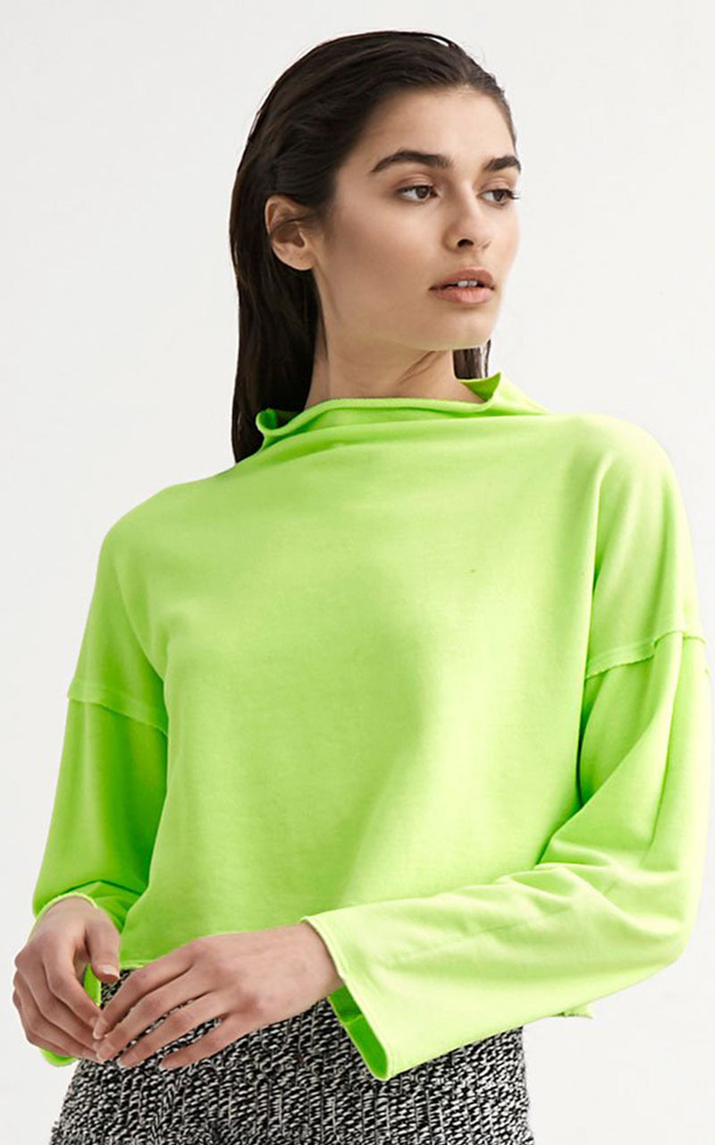 Lanston Neon Green Mock Neck French Terry Pullover Sweatshirt