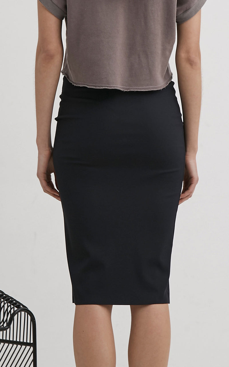 Lanston Dark Navy Ribbed Stretch Jersey Pencil Skirt
