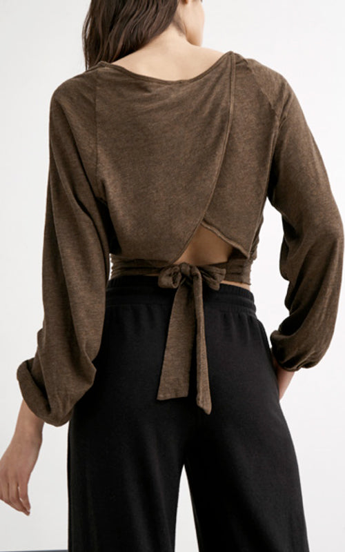 Tie Back Wrap Long Sleeve Top
