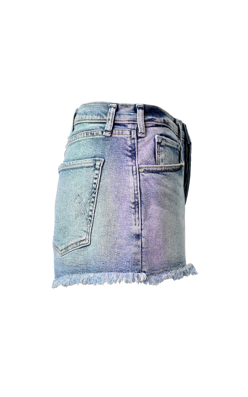 McGuire High Waisted Georgia May Over The Rainbow Washed Denim Shorts
