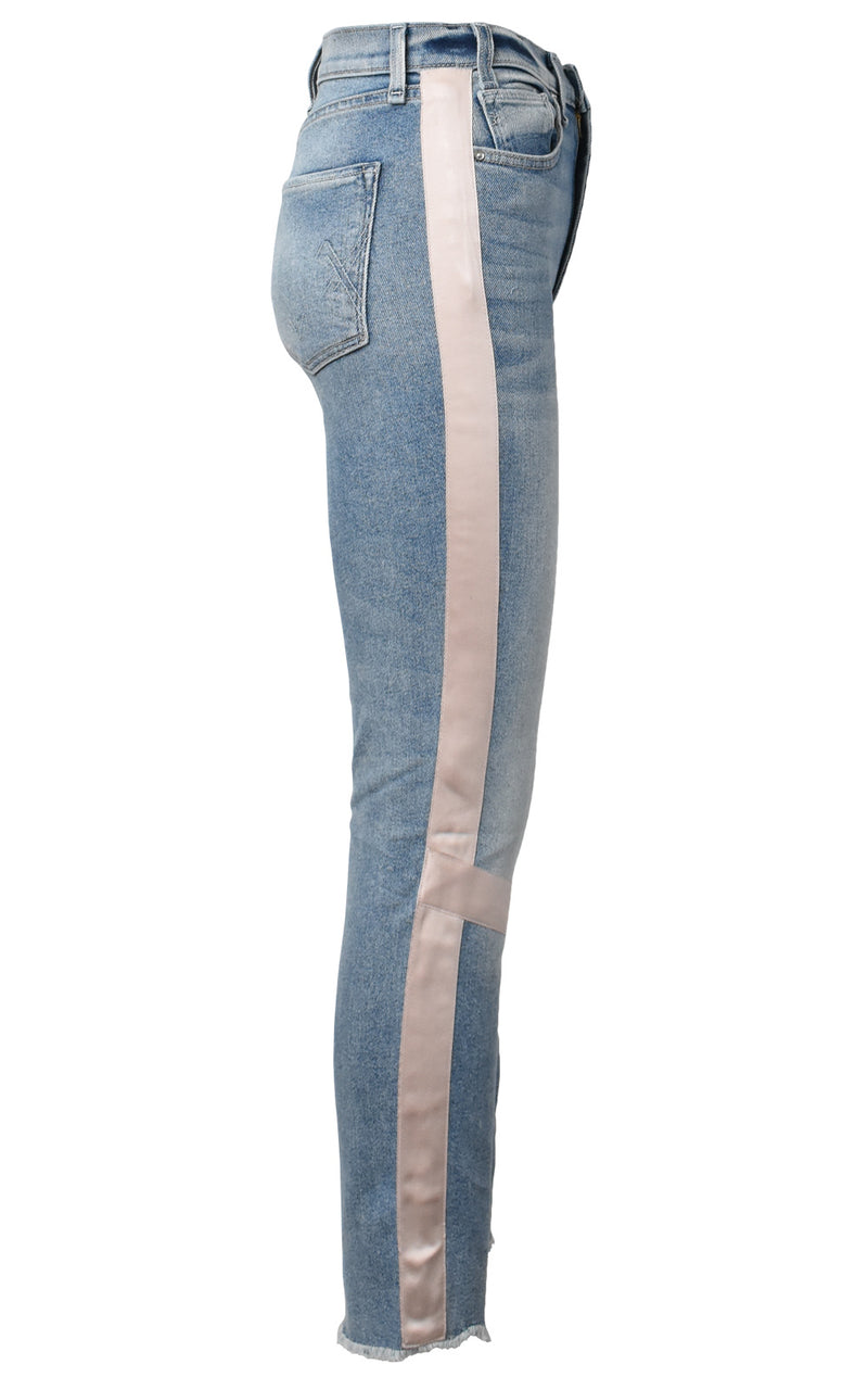 McGuire Denim High Waisted Vintage Slim Pink Tuxedo Stripe Jeans Les Toiles
